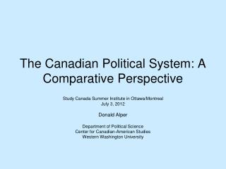 The Canadian Political System: A Comparative Perspective