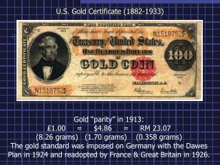 U.S. Gold Certificate (1882-1933)