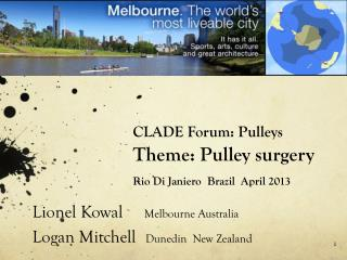 CLADE Forum: Pulleys Theme: Pulley  surgery Rio Di  Janiero   Brazil  April 2013