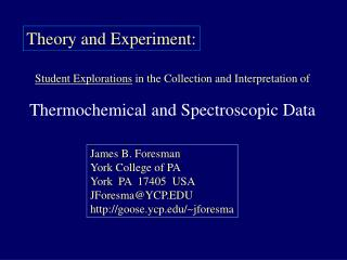 student explorations in the collection and interpretation of  thermochemical and spectroscopic data