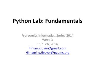 Python Lab: Fundamentals