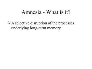amnesia - what is it