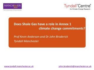Does Shale Gas have a role in Annex 1                               climate change commitments?