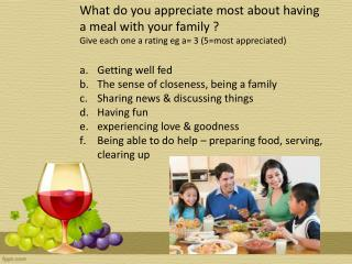 What do you appreciate most about having a meal with your family ?  Give each one a rating  eg  a= 3 (5=most appreciate
