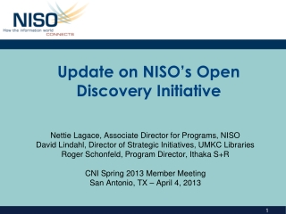 Update on NISO's Open Discovery Initiative
