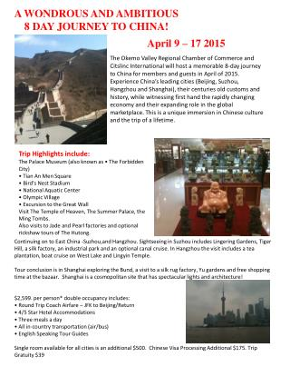 A WONDROUS AND AMBITIOUS 8 DAY JOURNEY TO CHINA!