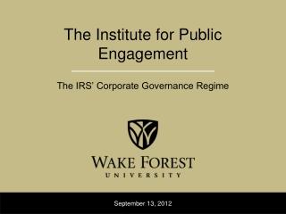 The Institute for Public  Engagement