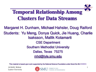 Temporal Relationship Among Clusters for Data Streams