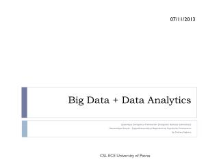 Big Data + Data Analytics