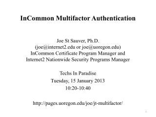 InCommon Multifactor Authentication