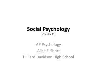 Social Psychology Chapter 13