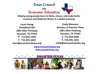 Laura Ewing President/CEO 1801 Allen Parkway,  Houston, TX 77019 P:  713.655.1650            F:  713.655.1655 laura@eco