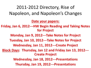 2011-2012 Directory, Rise of Napoleon, and Napoleon's Changes