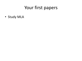 Your first papers
