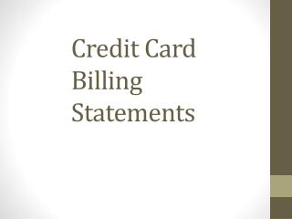 Credit Card Billing Statements