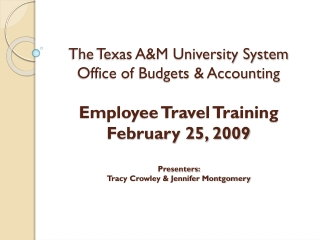The Texas A&M University System Office of Budgets & Accounting Employee Travel Training  February 25, 2009 Presenters: