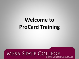 Welcome to ProCard  Training
