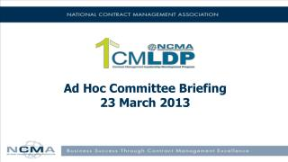 Ad Hoc  Committee Briefing 23 March 2013