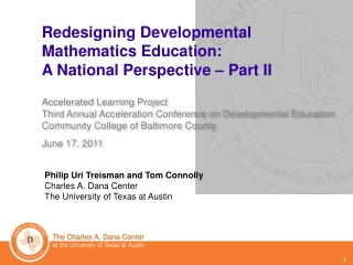 Redesigning Developmental Mathematics Education:  A  National Perspective � Part II