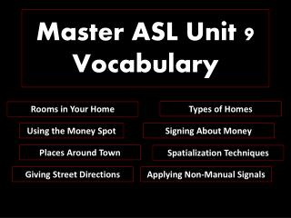Master ASL Unit 9 Vocabulary