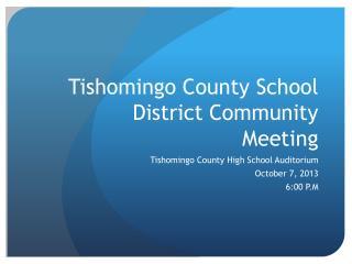 Tishomingo County School District Community Meeting