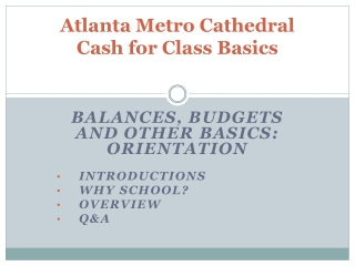 Atlanta Metro Cathedral  Cash for Class Basics