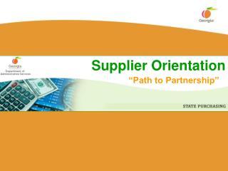 Supplier Orientation