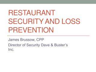 Restaurant Security and Loss Prevention