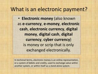 What is  an electronic payment ?