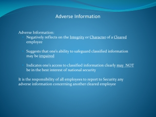 Adverse Information