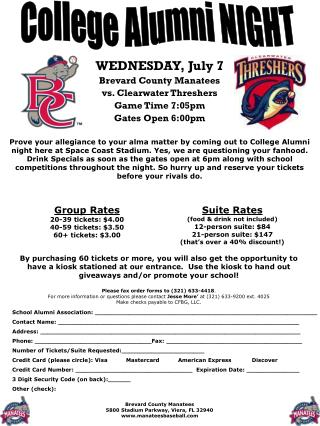 WEDNESDAY,  July  7 Brevard County Manatees vs.  Clearwater Threshers Game Time 7:05pm Gates Open 6:00pm