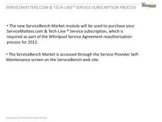 ServiceMatters.com & Tech-Line® Service subscription Process