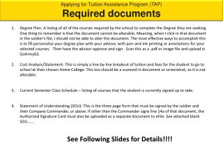 Applying for Tuition Assistance Program (TAP) Required documents