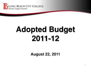 Adopted Budget 2011-12 August 22, 2011
