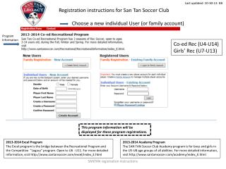 Registration instructions for San Tan Soccer Club