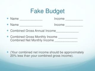Fake Budget