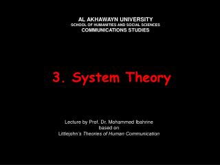3. system theory