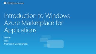 Introduction to Windows Azure Marketplace for Applications