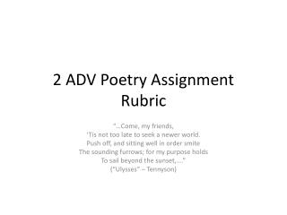 2 ADV Poetry Assignment  Rubric