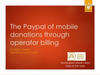 The  Paypal  of mobile donations through operator billing