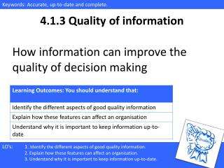 4.1.3 Quality of information