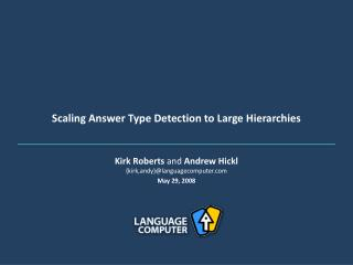 Scaling Answer Type Detection to Large Hierarchies