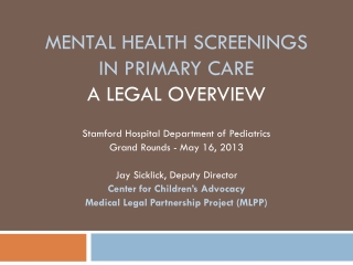 Mental health screenings In Primary Care A Legal Overview