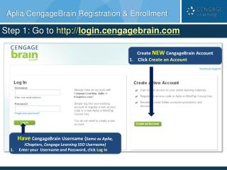 Aplia/CengageBrain Registration & Enrollment