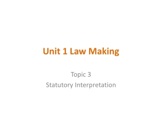 Unit 1 Law Making