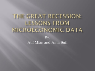 The Great Recession: Lessons from Microeconomic Data