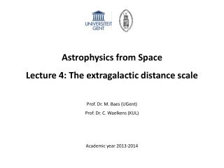Astrophysics from Space Lecture 4: The extragalactic distance scale