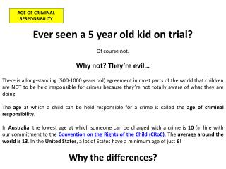AGE OF CRIMINAL RESPONSIBILITY