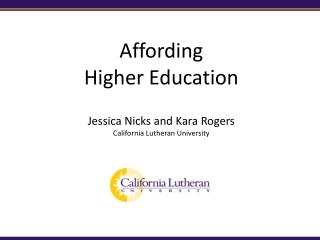 Affording  Higher Education