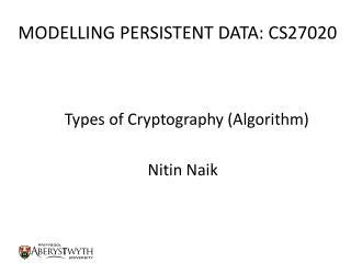 MODELLING PERSISTENT DATA: CS27020